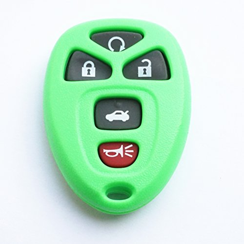 WFMJ Replacement Green Remote Smart 5 Buttons Car Key Case Shell Fob For Chevrolet Cobalt MalibuPontiac G5 G6 Grand Prix Solstice Pursuit Saturn Aura Sky Buick Allure Lacrosse No Chip ()