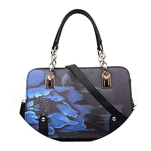 Classic cha tote print bag for y's bolsas feminina famous shoulder leather handbags,Black ()