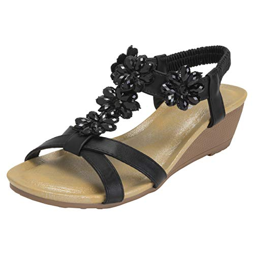 - VIVASHOES Womens Diamond Cross Strap Open Toe Wedge Sandals - Black - US8/EU39 - KL0442