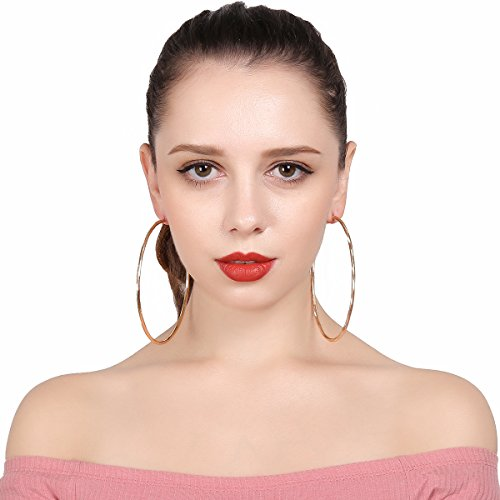 Hypoallergenic Extra Large Flattened Round Metal Hoop Earrings