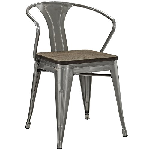 (Modway Promenade Modern Aluminum Bistro Dining Chair With Bamboo Seat in Gunmetal )