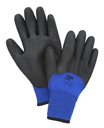 North by Honeywell NF11HD/9L NorthFlex Cold Grip NF11HD Foam PVC 3/4 Coated Insulated Gloves, Nylon, Large, Black/Blue ()