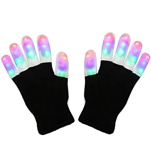 Ausein LED Gloves, 6 Modes 3 Color LED Finger Light up Gloves Colorful Flashing Rave Glow Lighting Fingertip Kids Glove Toys for Light Show Disco Party