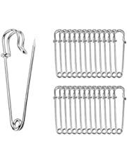 """ReachTop Pack of 30 Large Safety Pins, 2.76"""" Heavy Duty Blanket Pins Bulk Steel Spring Lock Pins Fasteners for Blankets Crafts Skirts Kilts Brooch Making"""