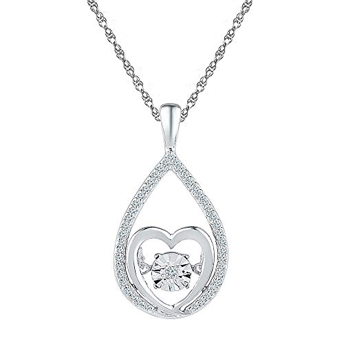 Diamond Moving Twinkle Heart Pendant 1/8ct 925 Sterling Silver