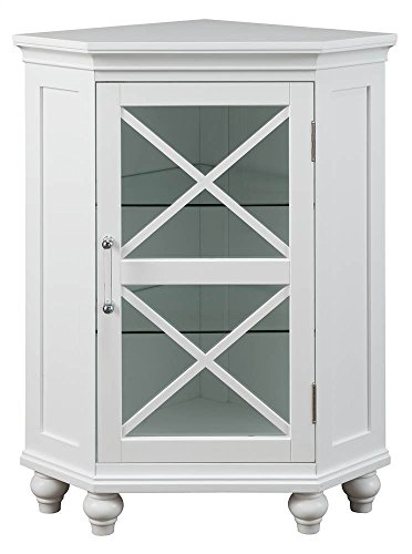 Elegant Home Fashions Blue Ridge Corner Floor Cabinet in White California Rustic Dining Table