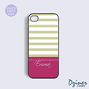 Monogrammed iPhone 5c Case - Tea Stripes Hot Pink Bottom iPhone Cover