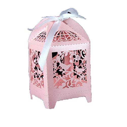 MEIZOKEN 50pcS Candy Favor Theat Boxes Laser Cut Love Birds Wedding Favor Candy Gift Box Pink/White/Golden Wedding Favors Candy Box Event Party Supplies -
