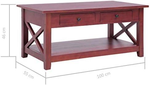Beste Authentiek Tidyard massief mahoniehout salontafel met 2 schuifladen 1 plank woonkamertafel bijzettafel houten tafel koffietafel koffietafel tafel tafel bruin 100 x 55 x 46 cm J0aTsYR