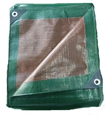 Premium Heavy Duty Multi-Purpose Waterproof Poly Tarp Cover, Reversible, Green and Brown, 10 ft x 20 ft