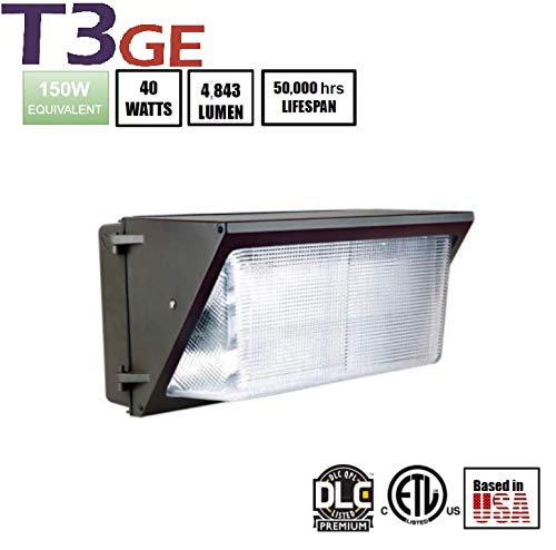 T3 Green Energy LED Wall Packs Waterproof Glass Refractor Commercial and Industrial Outdoor Lighting 40w 5000K 4843+lm 100-277VAC DLC Premium(40w) -