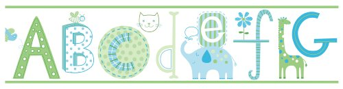 York Wallcoverings Peek-A-Boo Alphabet Animal Border, Off White/Powder Blue/Soft Mediu Green/Deep Blue (Border Musical Wallpaper)