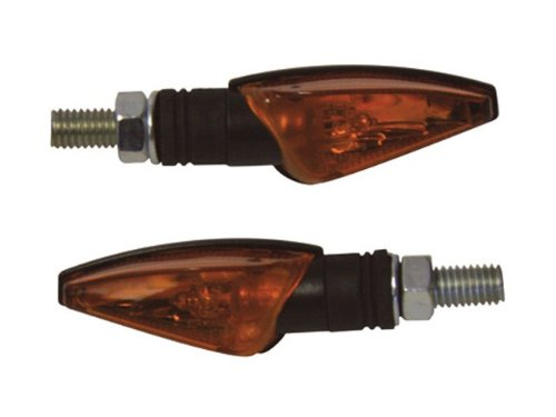 6 Watt Halogenbirne //Paar E-gepr/üft Motorrad Halogen Blinker TOLEDO schwarz gelbes Glas 12V
