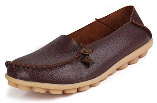 size 40 d1590 ce145 LabatoStyle Women s Genuine Leather Flats Casual Moccasin Driving Loafers  Shoes (Brown, 6.5 B(