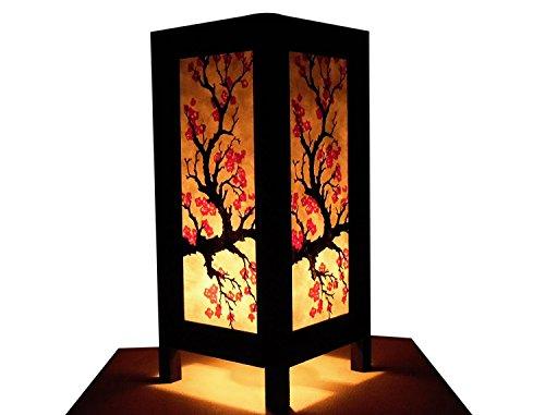 [Blue-Mango Thai Vintage Table Light or Floor Wood Paper Lamp Shades Handmade Asian Oriental Japanese Sakura Shades Home Bedroom Garden Decor Modern Design from] (Spirit Walker Costume)