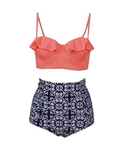 Haicoo Vintage High Waist Floral Women's Bikini Set Strappy Push Up Orange Top With Plaid Bottom XL