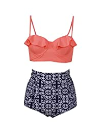 Haicoo Vintage High Waist Floral Women's Bikini Set Strappy Push Up Bathing Suit