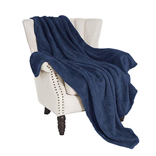 "Exclusivo Mezcla Waffle Flannel Fleece Velvet Plush Large Throw Blanket - 50"" x 70"" (Navy Blue)"