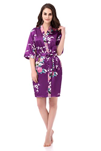 gusuqing Women's Printing Peacock Kimono Robe Short Sleeve Silk