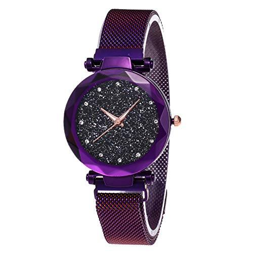 lightclub Fashion Starry Sky Rhinestone Magnetic Band Round Dial Quartz Women Wrist Watch - Purple
