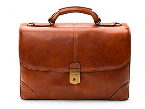Bosca Leather Briefs - Bosca Men's Dolce Collection - Flapover Brief Amber Briefcase
