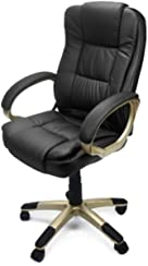 XtremepowerUS PU Leather Executive Office Desk Task Computer Chair boss Executive luxury Chair Seat (Delux Black)