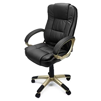 xtremepowerus pu leather executive office desk task computer chair boss executive luxury chair seat delux black