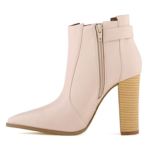 LOSLANDIFEN Womens Ankle Bootie With Square Heels Point Toe Boots Nude awm6v