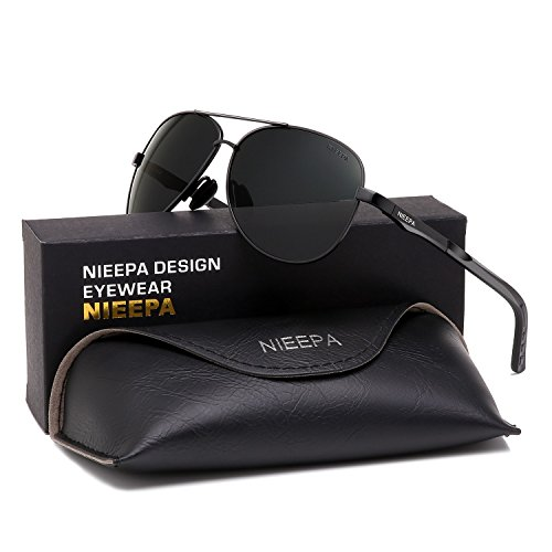 NIEEPA Aviator Polarized Sunglasses Mens Al-Mg Metal Ultra Light Frame Driving Glasses (Grey Lens/Black ()