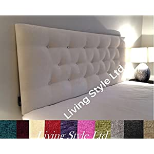 luxisleepltd Stylish Luton Headboard Finished In A Chennile Fabric – Available in Range of many Colours & All Sizes (3FT, Beige)