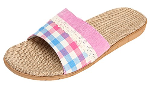 Blubi Womens Patchwork Open Toe Flax House Slippers Breathable Summer Slippers Rose HEVIgS