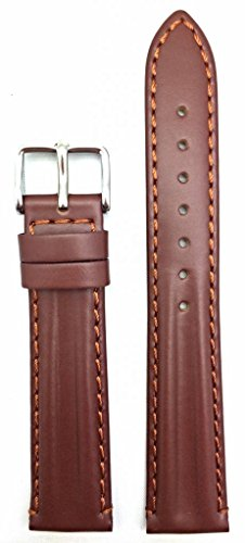 18mm Oily Brown Leather, Twin Padded Stylish Watch Band