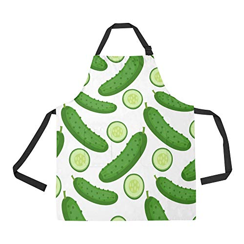 NQEONR Durable Cucumber Vegetables Fruits Healthy Green All Over Print Apron with an Adjustable Neck&Two Spacious Front Pocketst Unisex Kitchen Home Restaurant Apron for Baking -