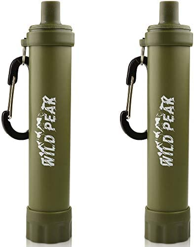 Wild Peak Stay Alive-2 Outdoor Activated Carbon 4000 Liter Water Filter Emergency Straw with Compass, Whistle, Signal Mirror, Carabiner for Survival, Camping, Hiking, Climbing, Backpacking 2-Pack