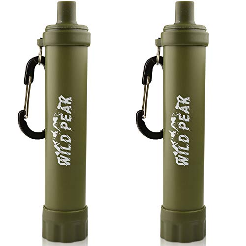 Wild Peak Stay Alive-2 Outdoor Activated Carbon 4000 Liter Water Filter Emergency Straw with Compass, Whistle, Signal Mirror, Carabiner for Survival, Camping, Hiking, Climbing, Backpacking (2-Pack)