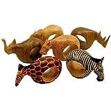 Mahogany Wood Animal Napkin Rings - Set of Six