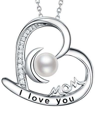 June Birthstone Necklaces Pearl Jewelry ❤️ I Love You Mom ❤️ Birthday Gift for Mom Heart Moon Necklace Sterling Silver