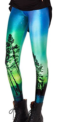 Jescakoo Women's Moon Light Forest Print Patterned Leggings Skinny Ankle Tights