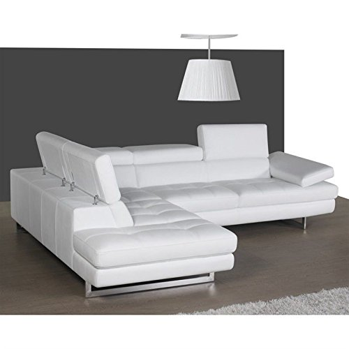 JM Furniture A761 Italian Leather Left Sectional in White