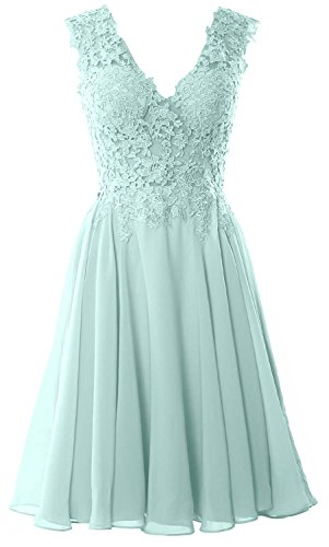 Lace Homecoming Gown Dress Short Cocktail Prom V MACloth Formal Neck Aqua Gorgeous R8qnWvaxa