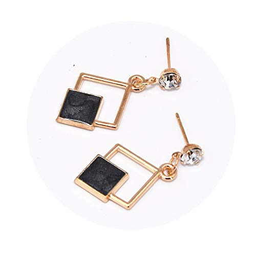 Hot Hollow Geometric Quadrilateral Dangling Long Statement Drop Earrings for Women Crystal Je for $<!--$15.88-->