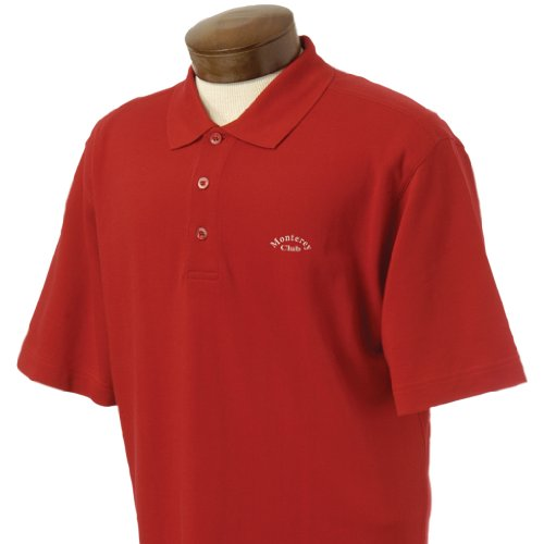 Monterey Club Mens Sport Shirt Short Sleeve Cotton 50S/2 Solid Pique Double Mercerized Solid Color #1040 (Cardinal, X-Large) (Double Mercerized Pique Mens Shirt)