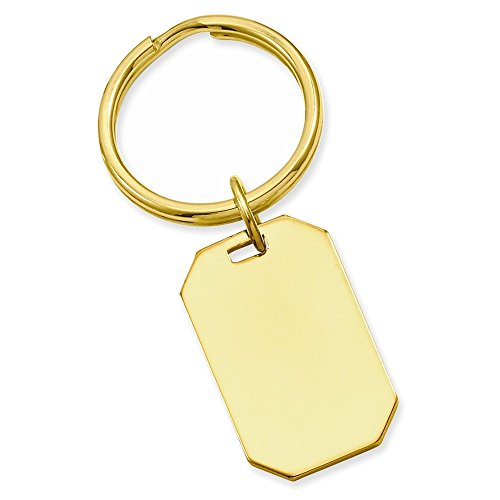 Jewelry Adviser Gifts Gold-plated Kelly Waters Polished Rectangle Key Ring