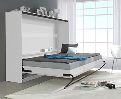 Armario cama 90 x 200 cm Blanco brillante Klapbett horizontal