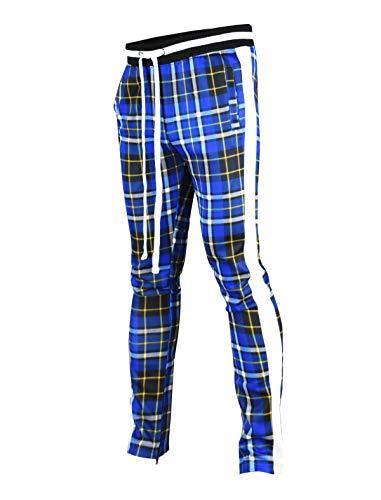 At Large Clothing - SCREENSHOTBRAND-P41902 Mens Hip Hop Premium Slim Fit Track Pants - Athletic Jogger Checker Pattern Print Taping Bottoms-Royal-2XLarge