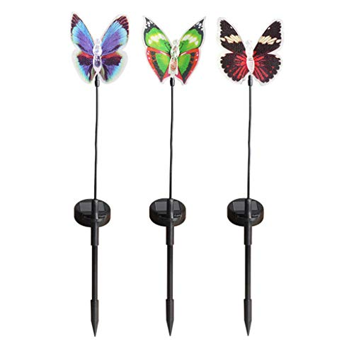 Aiaban Fine Garden Solar Lights Outdoor - 3 Pack Solar Stake Light Multi-Color Changing LED Garden Lights, Fiber Optic Butterfly Decorative Lights, Party Lamp Home Decor for Garden Home Wedding