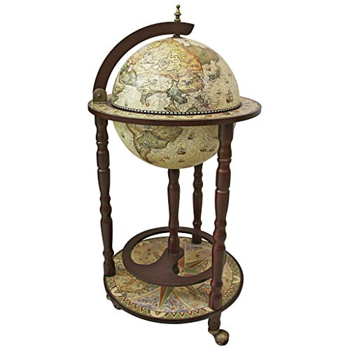 World Wine Wheel - Design Toscano SJ330016 Sixteenth Century Replica Globe Bar Cabinet, 34.5 Inch, Crema Durata