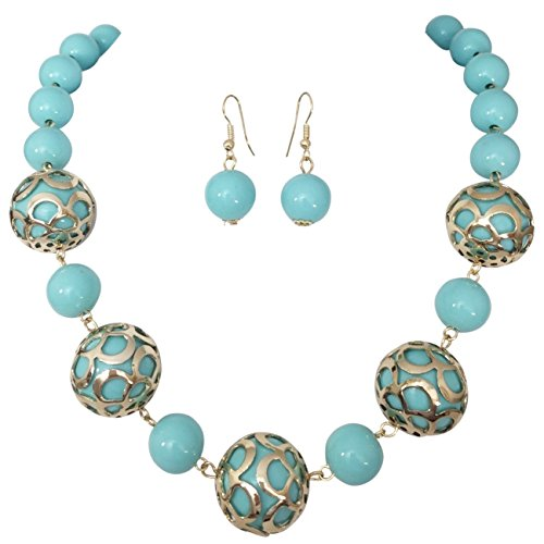 Gold Filigree Capped Resin Chunky Imitation Pearl Bead Statement Necklace Earrings Set (Blue Bead Necklace Set)