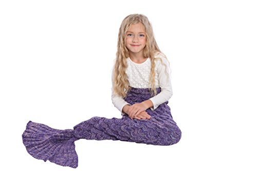 [Mermaid Tail Blanket Knit Crochet and Scale Mermaid Blanket for Kids,Sleeping Blanket (55''x28'', Scale] (Girl Halloween Costume Ideas 2016)