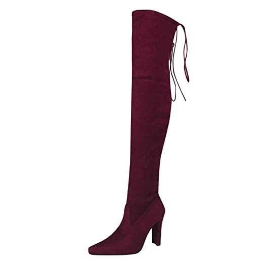 229a91e097ecc DENER Women Ladies Girls Long Boots Heels,Over The Knee Wide Calf Stretchy  Thigh High Lace up Comfortable Booties